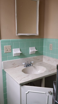 Turquoise tile master bathroom before with small shower. Copyright 2015 Marla Baxter Sanderson - SockOnARooster.com