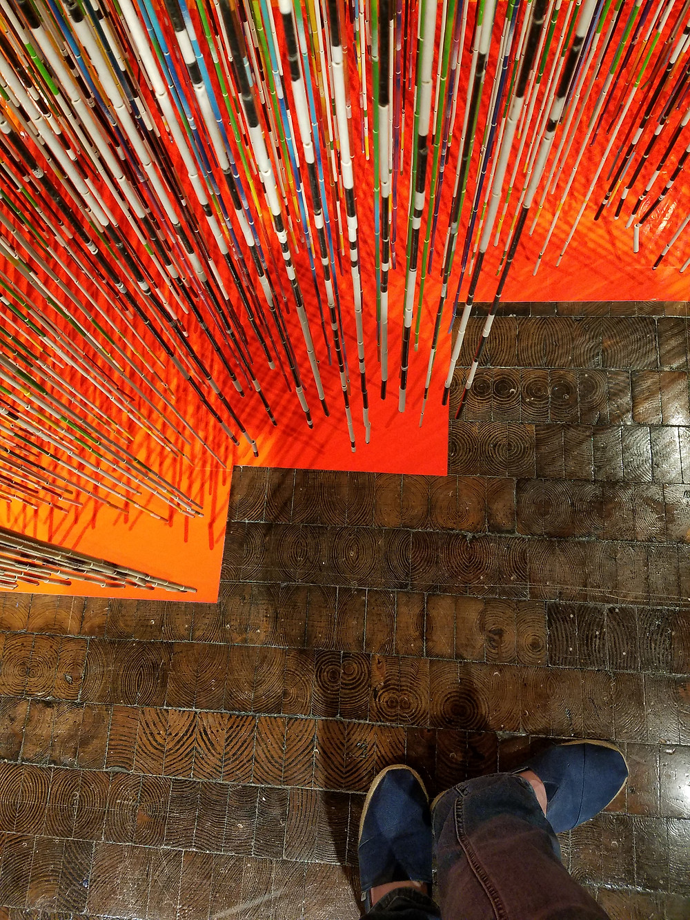 The Frist Art Museum end grain wood floors at a Nick Cave exhibit Copyright 2018 Marla Baxter Sanderson