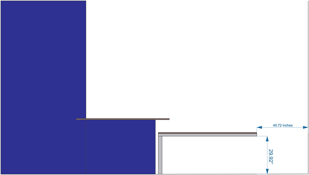 This is a profile/elevation diagram to show the wall, half-wall and where the table will be in relation to all of it.  This view is from our living room looking into the dining room and kitchen area. Copyright 2015 Gary Gaines - Gaines Graphic