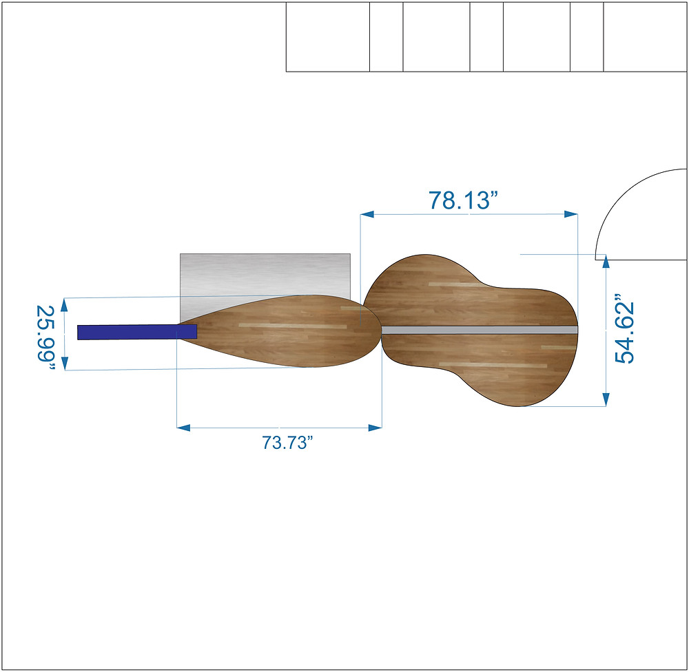 Here is Gary's initial diagram of his idea.  The only changes we made were maybe dimensions to be sure it fit in the space and the bar-top (semi-oval here) we changed to be more wavy and curvy.  STILL love Gary's AMAZING design. Copyright 2015 Gary Gaines - Gaines Graphic