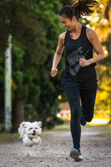 Photograph-of-Dog-and-human-running-in-Sydney-Park