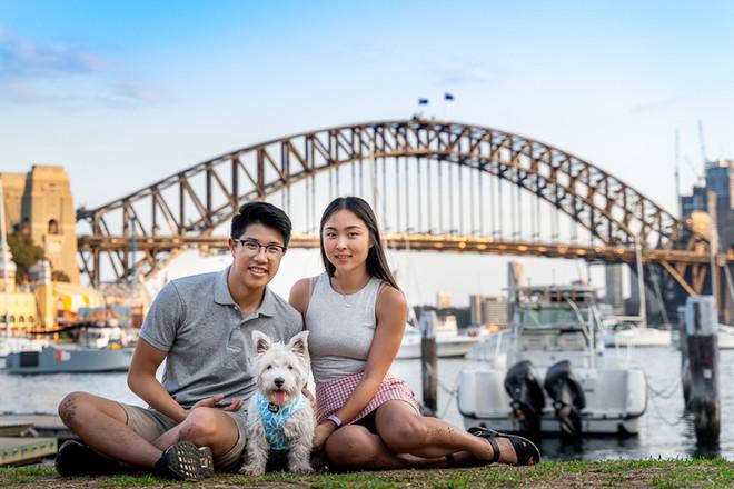 Family Portrait with dog on Sydney Harbour Bridge