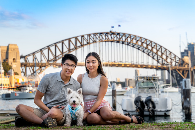Family Portrait with dog on Sydney Harbour Bridge