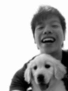 Golden Retriever puppy with owner in Sydney