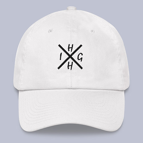 """White """"HIGH"""" Dad hat"""