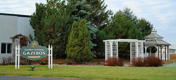 Garden Getaway Gazebos sign
