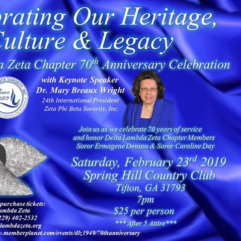 Delta Lambda Zeta 70th Anniversary Celebration with special guest 24th International President of Zeta Phi Beta Sorority, Inc., Soror Mary Breaux Wright
