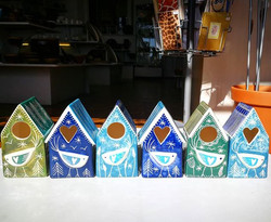 Pretty _kathcooperceramics birdhouses all in a row._We just love Kath's colours here at Potters. So