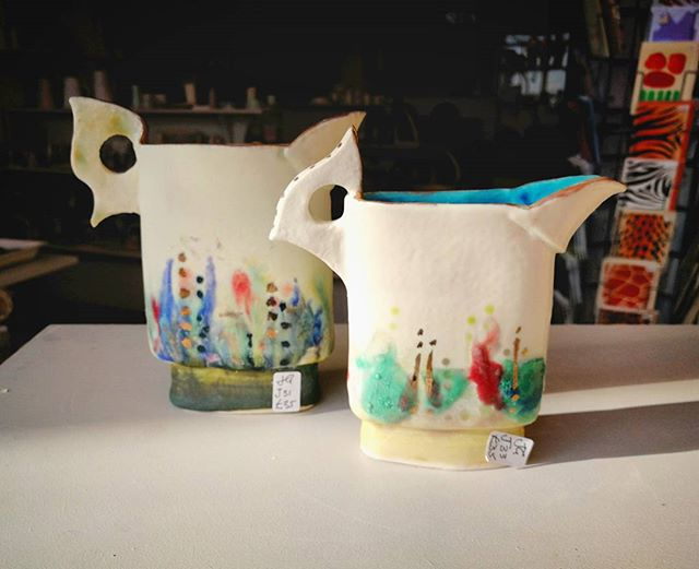 Jane Gibson makes painterly vessels. Her work is so collectable, she has many fans here in Bristol