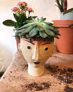 A customer bought one of Linda Brogan's head pots and then popped down to neighbouring florist _lesf