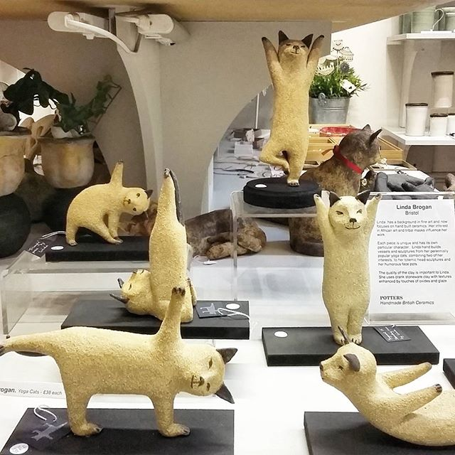 Linda Brogan Ceramics has delivered more Yoga Cats today! Excellent to have a full display back. Hah