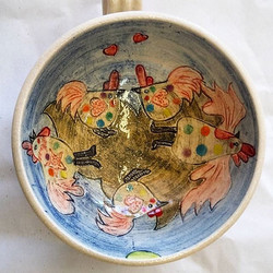 A very happy customer took this away today! The interior of a bespoke cup and saucer by Yvonne Halto