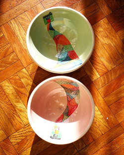 New bowls by Yvonne Halton Ceramics. She decorates her vessels with scenes and playful imagery._._._