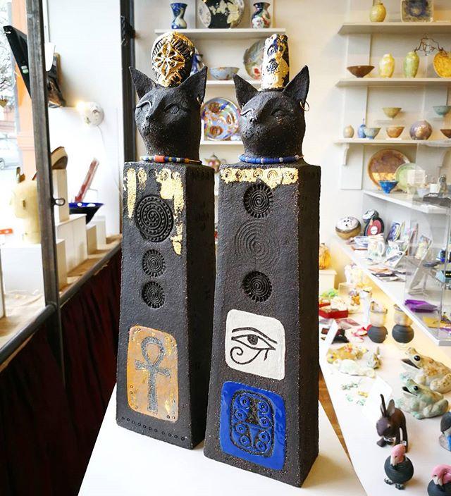Cat God and Goddess by Linda Brogan, Bristol based ceramicist.jpg_Egyptian style, sculptures worship