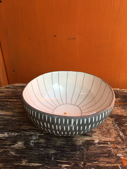 Frances Spice | Handbuilt White Bowl with Lines