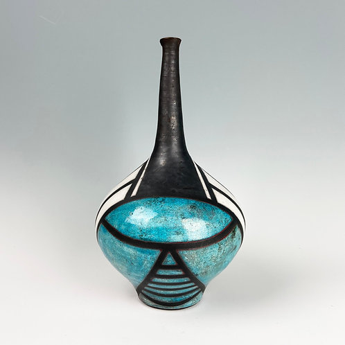 Raku Art Deco Bottle