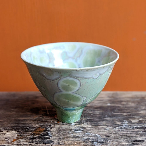 Small Crystalline Glaze Pale Green Bowl