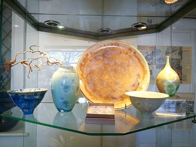 The pastel shades of Avril Farley's crystalline glaze pieces are looking particularly stunning in th