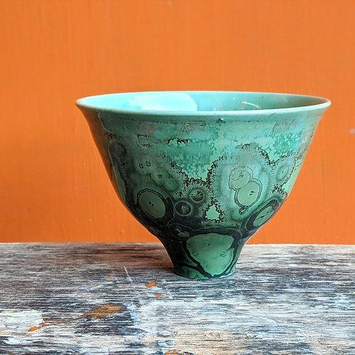 Small Crystalline Glaze Reduced Green Bowl