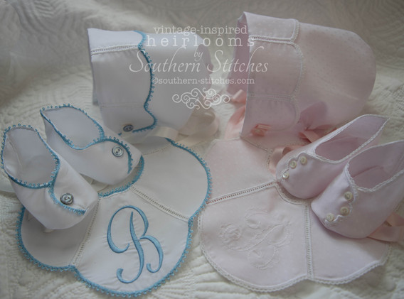 Heirloom Bonnet, Bib and Booties Set