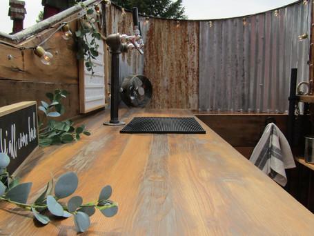 Repurposed barn truss bar top.