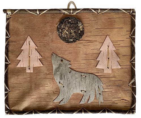 Howling Wolf Birchbark Painting