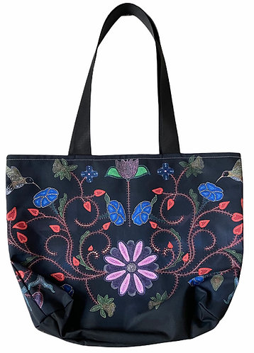 Black Floral East West Tote bag - Leah Yellowbird