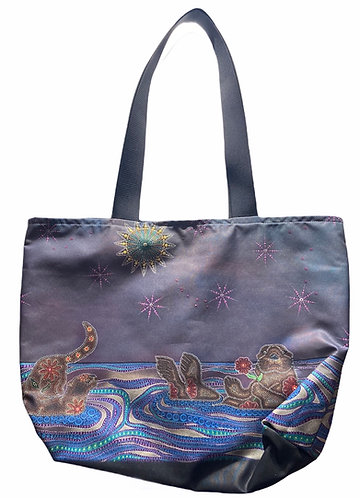 """Otters Under the Duluth Sky"" tote bag by Leah Yellowbird"
