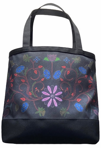 Black Floral Tote bag by Leah Yellowbird