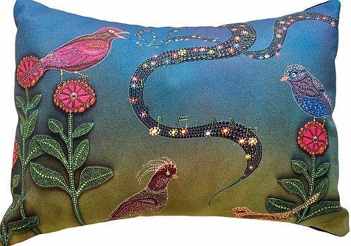 Bird Song Pillow (Small) - Leah Yellowbird