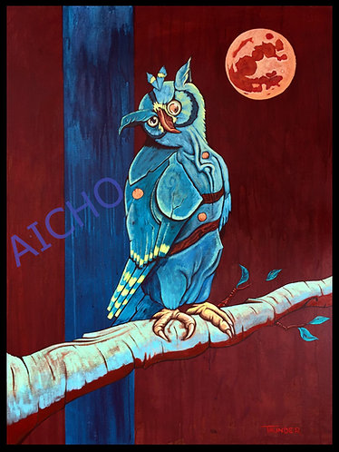 Owl Listens to the Blood Moon - Jonathan Thunder