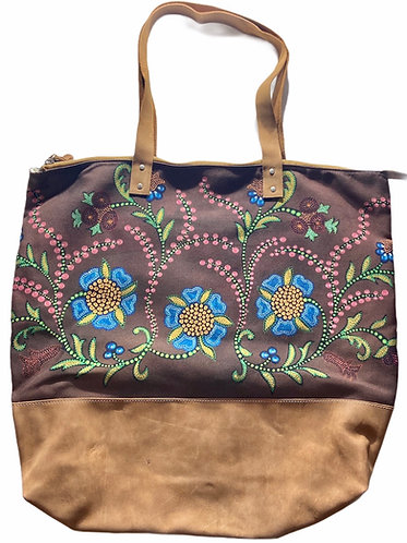 """Brown Floral"" Leather Tote bag by Leah Yellowbird"