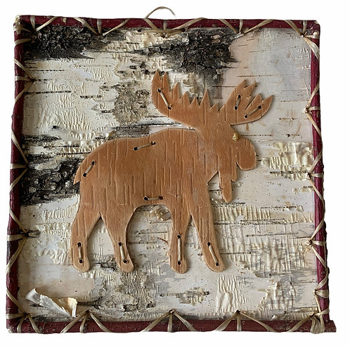 Moose Birchbark Painting