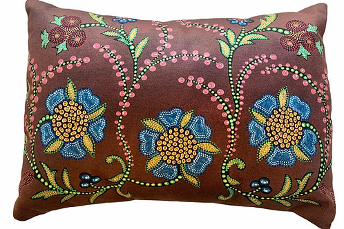 Brown Floral Pillow (Small) - LeahYellowbird