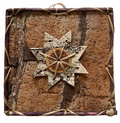 Star Pattern Birchbark Painting