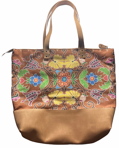 """Golden Floral Design"" Leather tote bag by Leah Yellowbird"