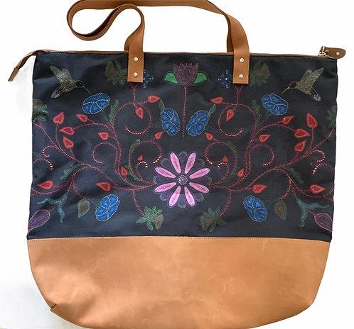 Black Floral Leather Bag - LeahYellowbird