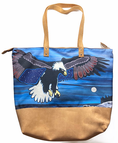 Leather tote bag - Migizi Flight Over Three Sisters Point - Sam Zimmerman