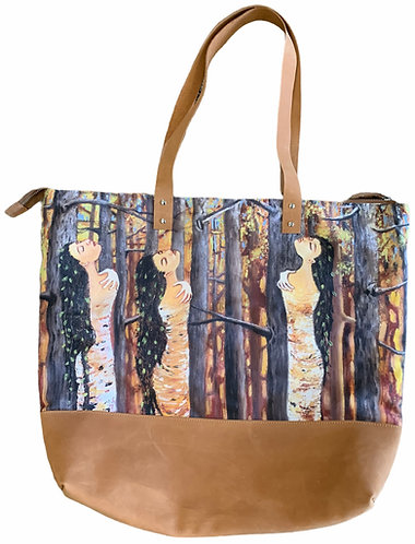 Birchbark Women Leather Tote - Karen Savage Blue
