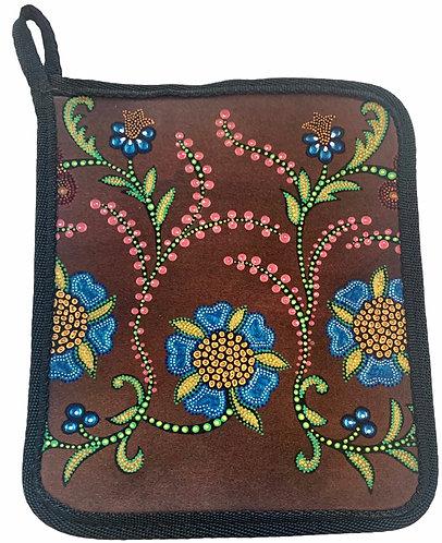 Brown Floral Pillow - Leah Yellowbird - Hot Pad/Pot Holder