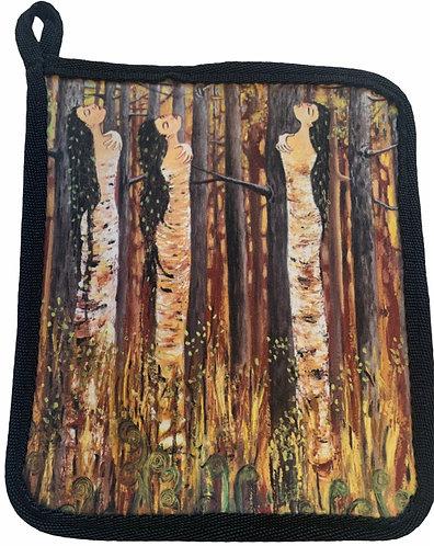 Birch Bark Women - Pot Holder/Hot Pad - Karen Savage Blue