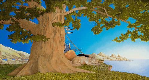 Nanabozhoo Resting with the Wolf - Rabbett Strickland