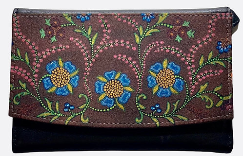 Brown Floral Leather Wallet by Leah Yellowbird