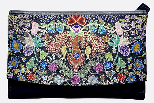 """""""Black Floral"""" Leather Wallet by Leah Yellowbird"""