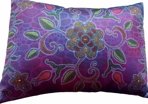 Purple Floral Pillow (Small) Leah Yellowbird
