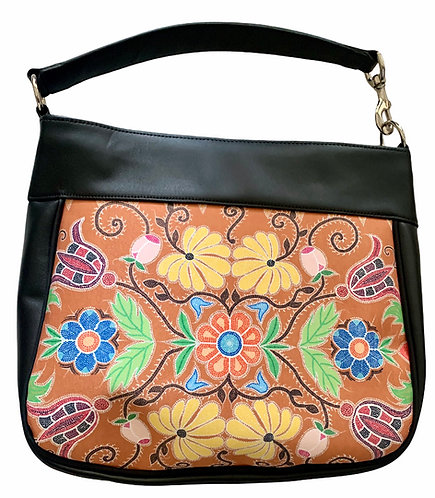 Floral Leather Hand Bag - Leah Yellowbird
