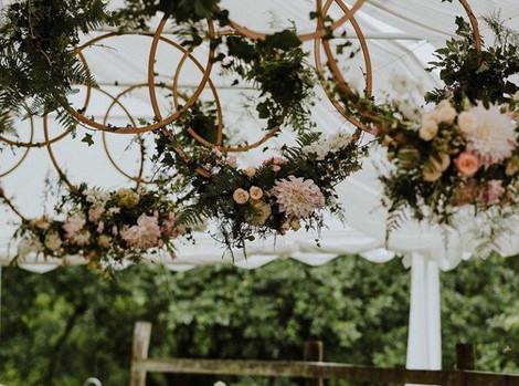 Wedding Hanging Floral Hoop Hire   Chocolate Falls