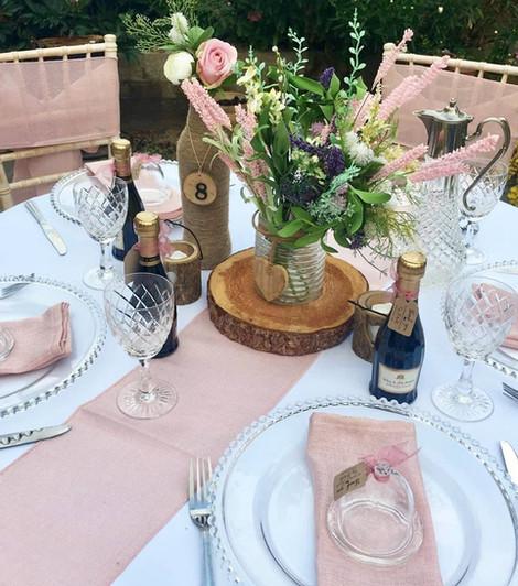Rustic Pink Wedding Table Setting   Chocolate Falls