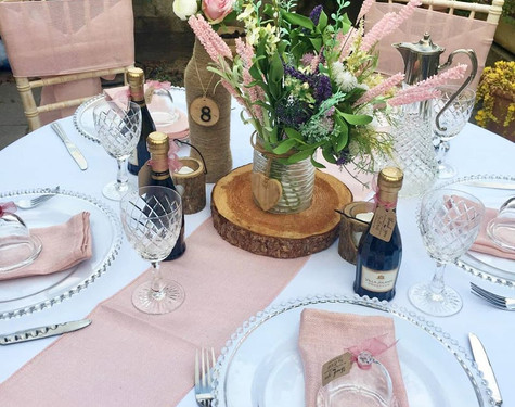 Rustic Pink Table Setting   Chocolate Falls
