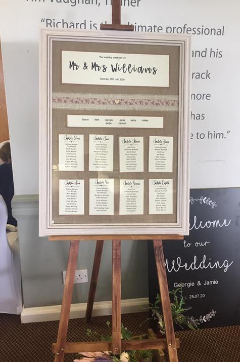 Bespoke Table Plan Rustic Wedding | Chocolate Falls